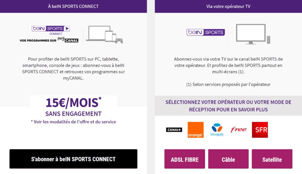 formules abonnement bein sports connect ou via un opérateur tv